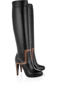 Pierre Hardy gives the perenially chic black leather knee boot a retro-inspired update for fall with a flash of contrasting brown. On Shoes, Me Too Shoes, Knee Boots, Heeled Boots, Valentino Boots, Pierre Hardy, Designer Boots, Boots For Sale, Shoe Collection