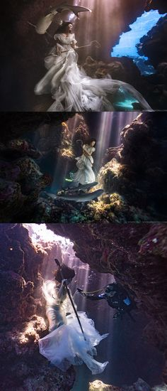 Model Tied Down In Underwater Cave with Sharks Creates Stunning Imagery.  World-renowned photographer and visual engineer Benjamin Von Wong has done it again. His breathtaking, inspiring photography has taken yet another step and this time for a great cause. According to Von Wong, this is the hardest shoot he has ever pulled off, and one he hopes has the biggest impact.  #photography #photographer #underwaterphotography