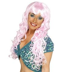 Pink Siren Wig Be sure to look the picture in this gorgeous pink siren wig. The pink siren wig is a long curly wig with a straight fringe.This is a gorgeous styled wig. Pirate Fancy Dress, Fancy Dress Wigs, Long Wigs, Short Wigs, Group Fancy Dress, Mermaid Face Paint, Red Wigs, Afro Wigs, Black Wig