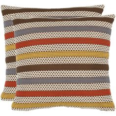 Bleeker 2-piece Throw Pillow Set ($96) ❤ liked on Polyvore featuring home, bed & bath, bedding, brown, striped bedding, brown striped bedding, safavieh, zipper bedding and patterned bedding