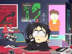 Love the Skinny Puppy poster in the background. South Park Funny, South Park Memes, Eric Cartman, South Park Goth Kids, Trey Parker Matt Stone, Kids Tumblr, Goth Wallpaper, Skinny Puppy, Favorite Holiday