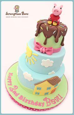 Peppa Pig 3 Tier Birthday Cake, from Scrumptious Buns, UK