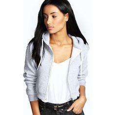 Boohoo Lorraine Crop Hoody ($20) ❤ liked on Polyvore featuring tops, hoodies, grey marl, crop top, gray hoodie, sweatshirts hoodies, cropped hoodies y hooded pullover