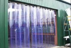 Durable PVC strip curtain fixed overhead to allow for quick entrances and exits in busy industry premises. Clear PVC strip curtains allow for through vision while offering a level of thermal protection. Strip Curtains, Plain Curtains, Types Of Curtains, Printed Curtains, Floral Curtains, Diy Curtains, Curtains Home Depot, Door Stripping, Door Coverings