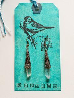 Antiqued Filigree Copper Victorian Style Crystal Quartz Points Drop Wire Wrapped Dangle Earrings! TAKE FLIGHT by TakeFlightStudioWA on Etsy
