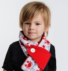 Kids adjustable winter scarf red and white by pineapplepetekids, $16.95