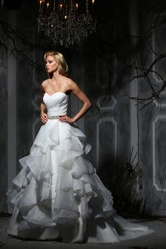 Beautiful ruffles on this wedding gown.