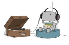 lizclimo:    Just a little hipster robot.  He's relaxing.   © Liz Climo