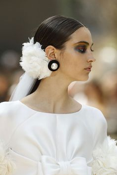 Chanel Gives the Bridal Ponytail a Magical Makeover for Fall 2017 Couture Bridal Earrings, Bridal Jewelry, Bridal Ponytail, Camille Hurel, Chloe Sevigny, Floral Headpiece, Vintage Bridal, Bridal Hair Accessories, Bridal Headpieces