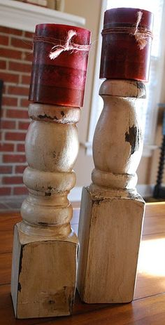 Porch posts turned into candle holders in downstairs bathroom - to match towel holder