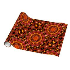 Glittering Gold, Abstract Amber Red Jewels Gift Wrap Paper