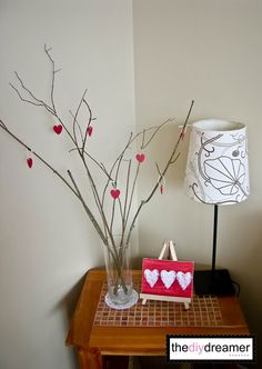 Valentine Decorations - TheDIYDreamer.com Heart branch centerpiece