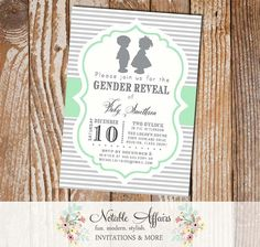 Gray and Mint Green Boy Girl Stripes Silhouette Invitation