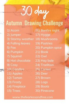 30 Day Drawing Challenge, 30 Day Art Challenge, Sketchbook Challenge, Art Journal Challenge, Easy Doodles Drawings, Fall Drawings, Simple Doodles, Halloween Drawings, Autumn Painting