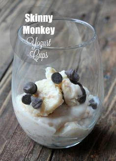 Skinny Monkey Yogurt Cup. Simple parfait recipe with peanut butter, banana and chocolate. Makes a great snack or dessert.