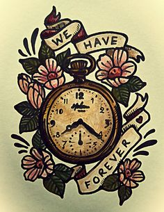 II LOVE THIS! pocket watch, illustration, old, vintage, tattoo, design, watercolour, painting