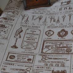 Coupon tissu imprimé mercerie retro lin et coton beige marron