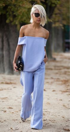 off the shoulder lavender top with matching trousers