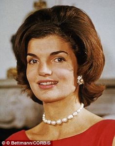 Doppelganger: Rose Schlossberg, the eldest grandchild of Jacqueline Kennedy Onassis (pictured), has inherited her grandmother's wide-set eyes, delicate lips, and thick brunette hair