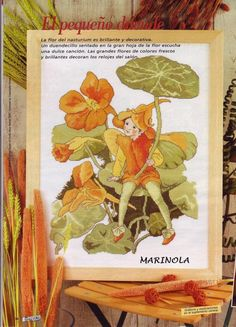 Cross stitch - fairies: Nasturtium fairy - Cicely Mary Barker - close-up fragment (free pattern with chart)