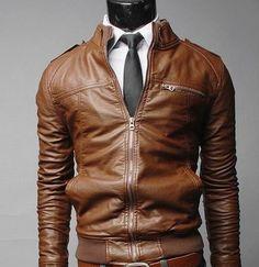 Men Leather Jacket - Brown