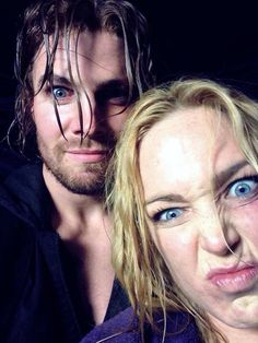 Final day of filming selfie. Caity Lotz and Stephen Amell