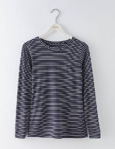 #Boden Supersoft Crew Tee Navy/Ivory Women Boden, #Never has supersoft been so true and so fabulous. No capsule wardrobe is complete without a long sleeve T-shirt and this block-coloured crew neck is ideal for layering. Jazz up with a pencil skirt and Mary Janes for cocktails with the girls.