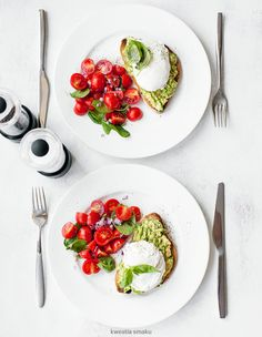 Heirloom Tomatoes, Avocado Toast, topped with a poached egg for a delicious breakfast meal!