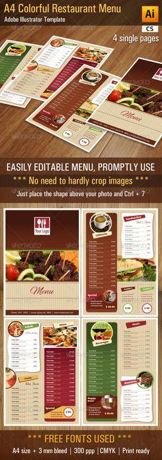 A4 Colorful Restaurant / Bar Menu - Food Menus Print Templates