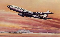 Pacific Northern airlines Boeing B720 postcard