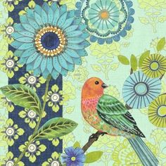 Jardin Bleu Orange Bird by Jennifer Brinley | Ruth Levison Design