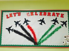 Change to qatar colours - streamers? Toddler Learning Activities, Preschool Activities, Computer Lab Decor, Kuwait National Day, Independence Day Decoration, Pakistan Day, Pakistan Independence Day, Pe Ideas, Board Decoration
