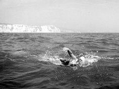Cindy Nicholas. Young open water swimmer in the English Channel. Age 16