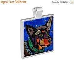 55% Off Today- Australian Kelpie Dog Folk Art Jewelry - Pendant Metal Gift Art Heather Galler Gift - Dog Lovers Pet Art Vegan Gifts