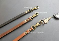 Premium Quality 5 mm Nappa Goats leather Lanyards in Black with Brass Catch