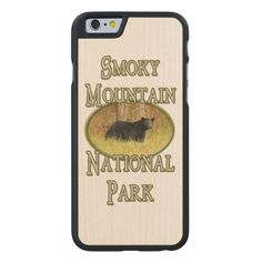Smoky Mountain National Park Black Bear  Carved Maple iPhone 6 Slim Case This souvenir style vertical design features wildlife nature photography of a black bear in the Great Smoky Mountains National Park. This photo was taken in the fall and has a natural green grass background and green text. Great gift for a bear or park lover, hiker, climber or outdoorsman or woman. #Bear #SmokyMountains #Mountains