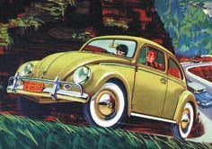 Artistic drawing for VW Beetle ad. Ferdinand Porsche, Carros Vintage, Beetle Drawing, Carros Vw, Old Bug, Harley Davidson, E Motor, American Auto, Vw Beetles