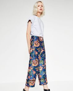 ZARA - TRF - CROPPED PRINTED TROUSERS
