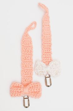 Together In Love on Etsy $7 Crochet Pastel Pink Pacifier Clips with bows!