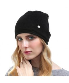 db33aebfc241 Women s Solid Ski Skullies Edge Curling Beanie Hat Soft Cashmere Knitting  Cap Black CF187R78CWR