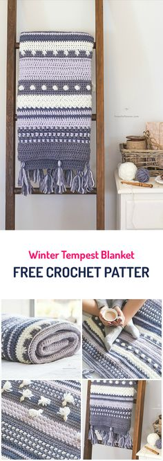 Winter Tempest Blanket Free Crochet Pattern | Straight to pattern [free at Ravelry https://www.ravelry.com/patterns/library/winter-tempest-blanket]