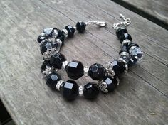 Double strand black bracelet with vintage glass by Tootsiejos, $30.00