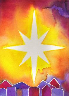 Star of Wonder Star of Light Star of Royal Beauty Bright Advent Art Projects, Christmas Art Projects, School Art Projects, Christmas Paintings, Christmas Art For Kids, Christmas Makes, Watercolor Christmas Cards, Art Lessons Elementary, Winter Art