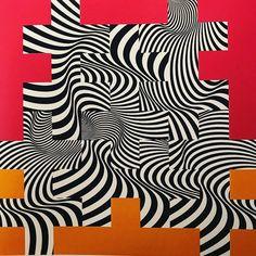 Franco Grignani, Floating structure, 1965 [from GARADINERVI] Logo Sketches, Photo Logo, Black And White Design, Graphic Design Typography, Op Art, Art Tutorials, Line Art, Animal Print Rug, Geometry