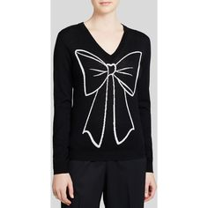 Boutique Moschino Sweater - Bow Print V Neck (1 150 PLN) ❤ liked on Polyvore featuring tops, sweaters, sweater pullover, graphic sweaters, v neck sweater, graphic pullover and vneck sweater