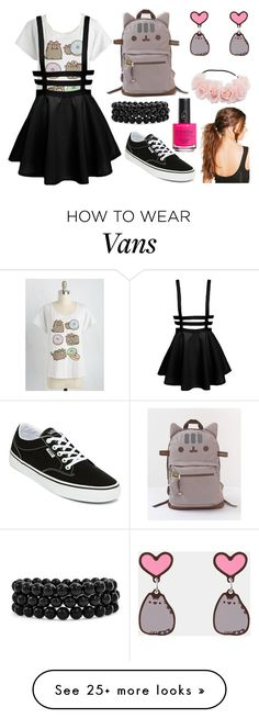 """Pusheen School Outfit"" by pbamberry on Polyvore featuring Vans, Pusheen, Bling Jewelry, Piggy Paint, Boohoo, contestentry and PVxPusheen"