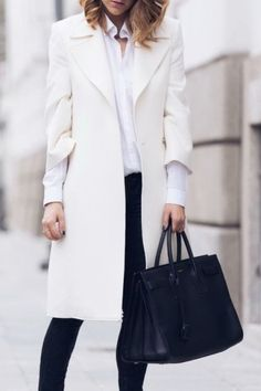 Fall / Winter - street chic style - business casual - office wear - work outfit - white coat + white shirt + white skinnies + black tote