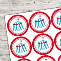 Motivaufkleber Zirkuszelt rot: ♥ 12 runde Aufkleber, 40 mm, glatter Rand ♥ matte Folie, wetterfest, wasserfest und UV-beständig  highquality InkJet Druck