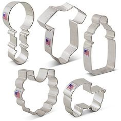 877ae98c9b1f0 Baby Shower Cookie Cutter Set - 5 Piece - Onesie, Bib, Rattle, Bottle, and  Baby Carriage - Ann Clark Cookie Cutters - US Tin Plated Steel