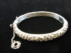 Crown Trifari Silver Tone Cuff Bracelet with Safety Chain by MySimpleDistractions on Etsy